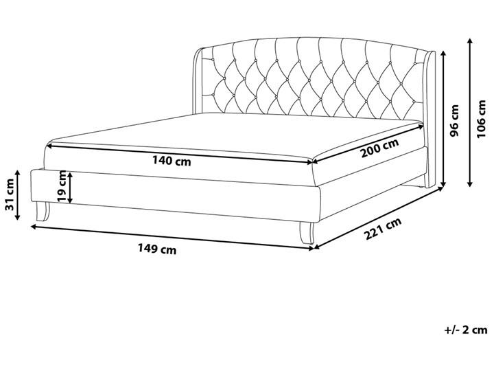 Łóżko beżowe tapicerowane 140 x 200 cm ze stelażem i pikowanym zagłówkiem Łóżko tapicerowane Kolor Beżowy Kategoria Łóżka do sypialni