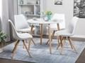 Stół do jadalni i kuchni biały jasne drewniane nogi okrągły 90 cm styl skandynawski Drewno Płyta MDF Pomieszczenie Stoły do jadalni