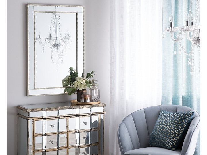 Lustro ścienne wiszące srebrne 60 x 90 cm Kolor Srebrny Prostokątne Lustro z ramą Styl Klasyczny