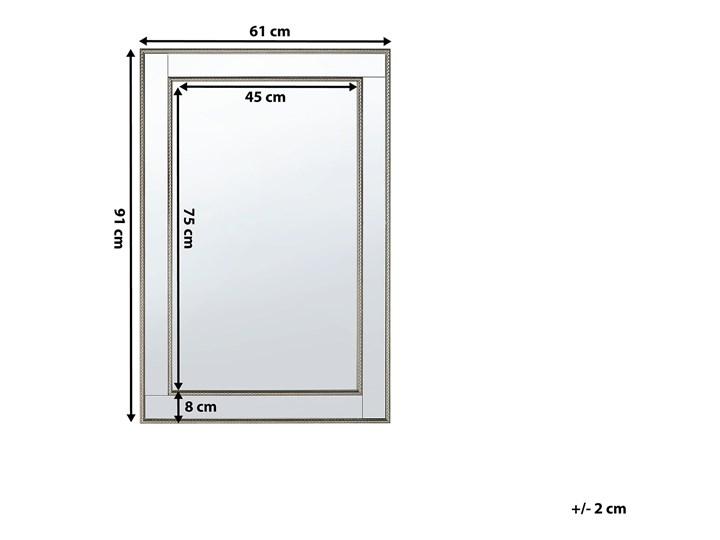 Lustro ścienne wiszące srebrne 60 x 90 cm Pomieszczenie Salon Lustro z ramą Prostokątne Styl Klasyczny