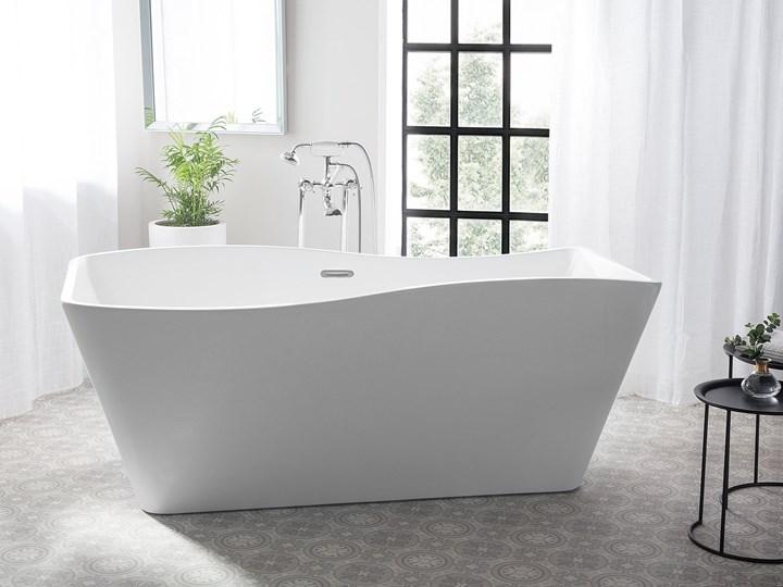 Wanna wolnostojąca biała akrylowa 170 x 78 cm system przelewowy prostokątna glamour Symetryczne Stal Wolnostojące Długość 170 cm Kolor Biały