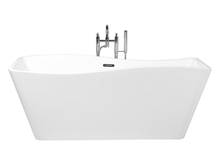 Wanna wolnostojąca biała akrylowa 170 x 78 cm system przelewowy prostokątna glamour Długość 170 cm Wolnostojące Symetryczne Stal Kolor Biały Kategoria Wanny