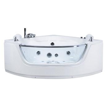 Wanna narożna biała akrylowa 192 x 136 cm LED hydromasaż zagłówki system przelewowy nowoczesna