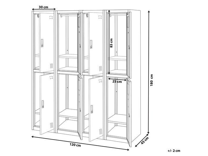 Szafa ubraniowa czarna metalowa 120 x 45 x 180 cm 4 x podwójne drzwi na kluczyk z półkami Pomieszczenie Biuro i pracownia