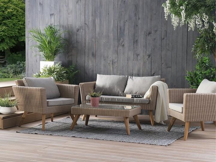 Zestaw mebli ogrodowych 4-osobowy wypoczynkowy szaro-brązowy technorattan sofa dwa fotele poduszki stolik kawowy Stal Tworzywo sztuczne Zestawy wypoczynkowe Zestawy kawowe Styl Nowoczesny Kategoria Zestawy mebli ogrodowych