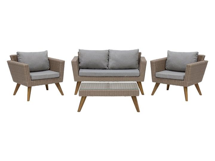 Zestaw mebli ogrodowych 4-osobowy wypoczynkowy szaro-brązowy technorattan sofa dwa fotele poduszki stolik kawowy Zestawy wypoczynkowe Styl Nowoczesny Zestawy kawowe Stal Tworzywo sztuczne Kategoria Zestawy mebli ogrodowych