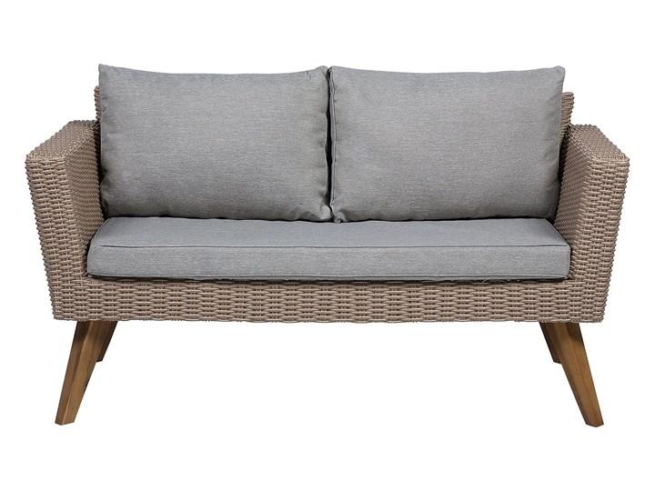 Zestaw mebli ogrodowych 4-osobowy wypoczynkowy szaro-brązowy technorattan sofa dwa fotele poduszki stolik kawowy Stal Zestawy wypoczynkowe Tworzywo sztuczne Zestawy kawowe Kategoria Zestawy mebli ogrodowych