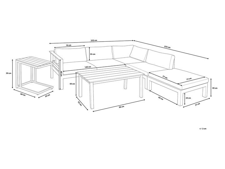 Zestaw mebli ogrodowych 6-osobowy biały aluminium zielone poduszki narożnik pufa stół stolik Zestawy modułowe Tworzywo sztuczne Zestawy wypoczynkowe Zawartość zestawu Sofa