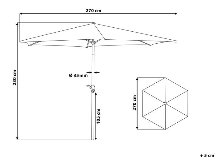 Parasol ogrodowy brązowoszary składany 270 x 230 cm odchylany z korbą Kolor Beżowy Parasole Kategoria Parasole ogrodowe