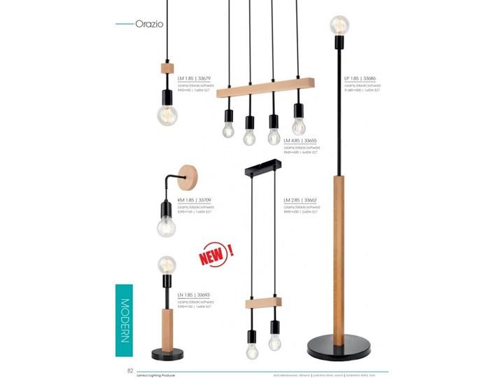 ORAZIO lampa wisząca 1-punktowa czarna - naturalny buk Metal Drewno Styl Skandynawski Żarówka na kablu Pomieszczenie Przedpokój