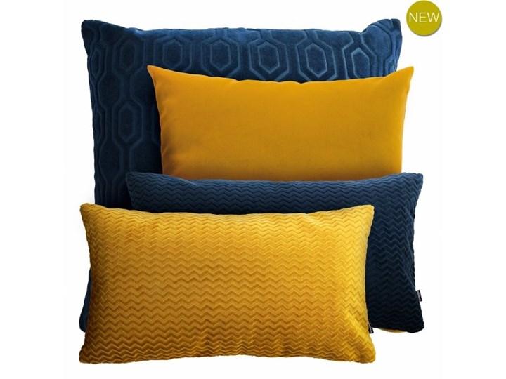 Granatowo miodowy zestaw poduszek dekoracyjnych Wzór Jednolity