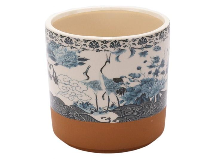 """Donica ceramiczna biała z błekitnym wzorem w żurawie """"GRU""""14x14cm"""