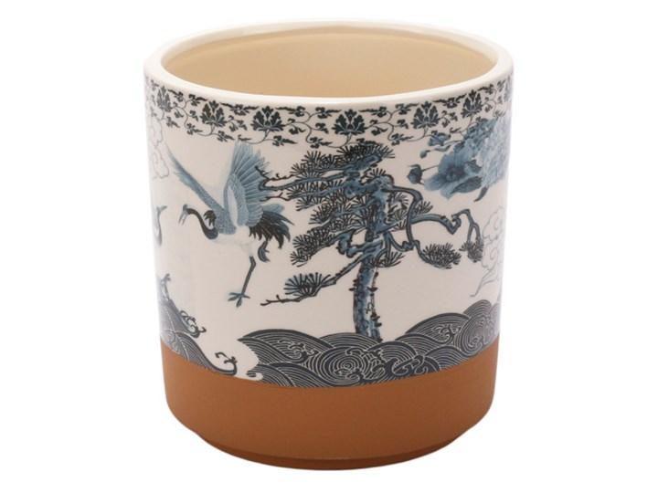 """Donica ceramiczna biała z błekitnym wzorem w żurawie """"GRU 2""""16.5x17.5cm"""
