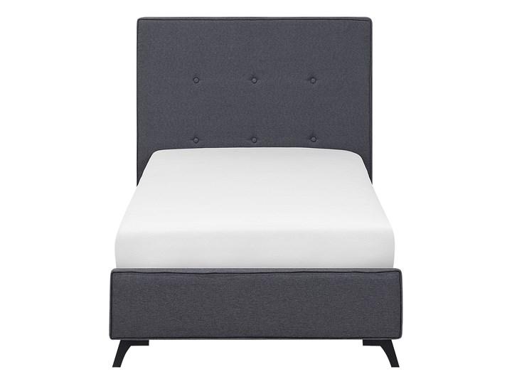 Łóżko szare tapicerowane 90 x 200 cm ze stelażem i wezgłowiem z ozdobnymi guzikami Łóżko tapicerowane Kategoria Łóżka do sypialni