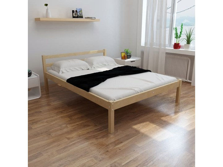 vidaXL Łóżko z materacem, lite drewno sosnowe, 140 x 200 cm