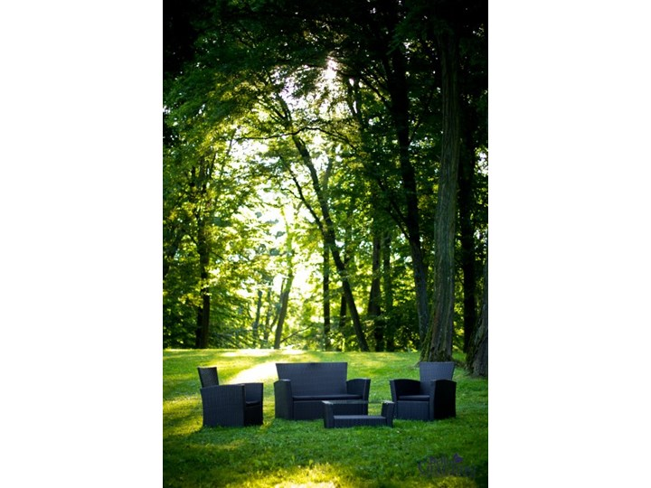 Meble ogrodowe z technorattanu UNICO Zestawy wypoczynkowe Kolor Czarny Zawartość zestawu Sofa