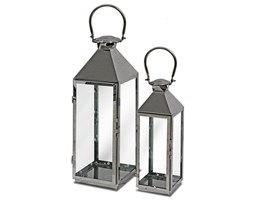 EMMA lampiony srebrne, komplet 2 sztuk, wys. 65/48 cm