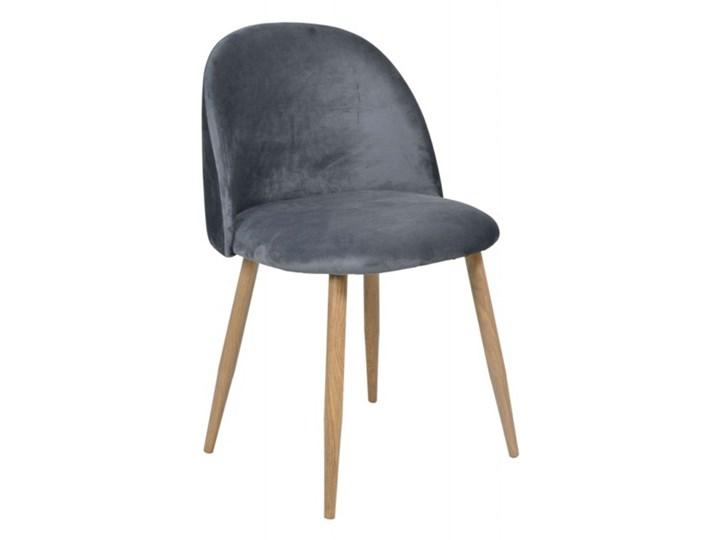 MILES krzesło welurowe grafitowe z półokrągłym oparciem