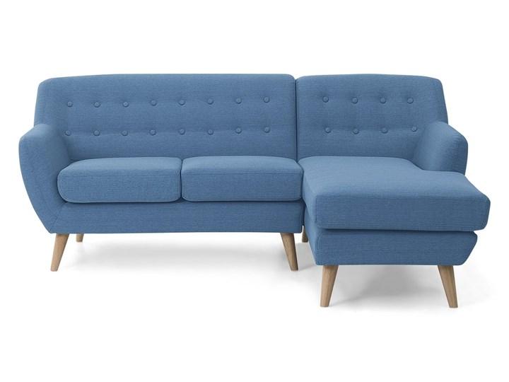 Narożnik lewostronny niebieski 3-osobowy pikowany styl skandynawski W kształcie L Szerokość 182 cm Nóżki Na nóżkach Rozkładanie
