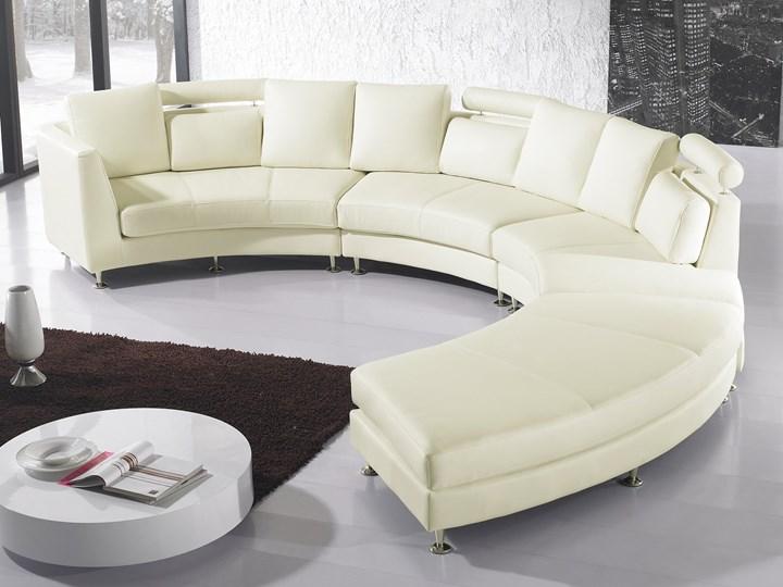 Sofa półokrągła kremowa skórzana 8 miejsc moon salon duży pokój nowoczesna Szerokość 448 cm Styl Industrialny Stała konstrukcja Styl Nowoczesny
