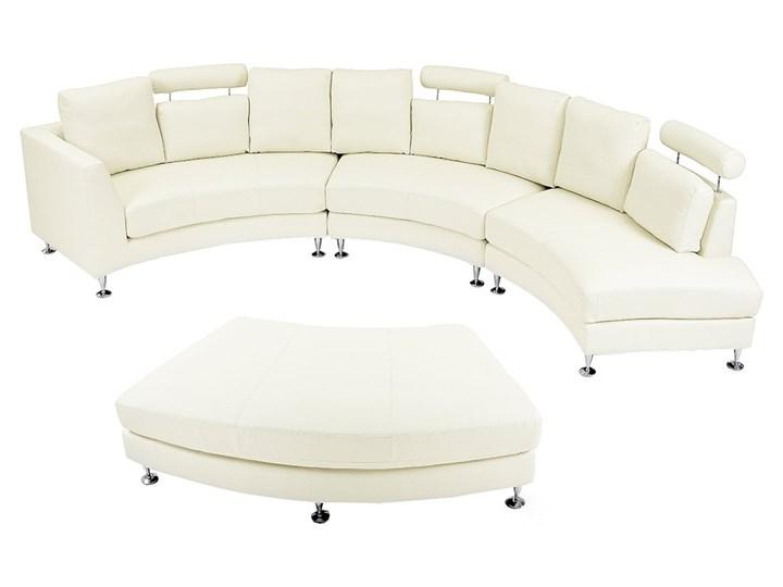 Sofa półokrągła kremowa skórzana 8 miejsc moon salon duży pokój nowoczesna Szerokość 448 cm Stała konstrukcja Styl Industrialny Materiał obicia Skóra naturalna