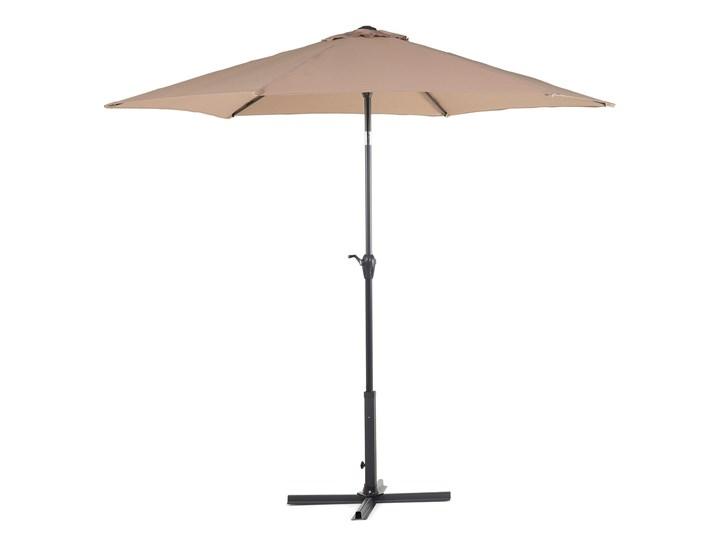Parasol ogrodowy brązowoszary składany 270 x 230 cm odchylany z korbą Parasole Kategoria Parasole ogrodowe