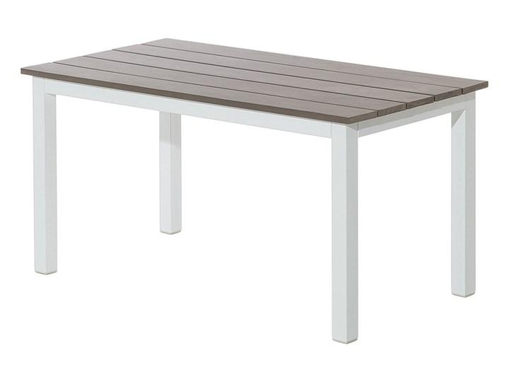 Zestaw mebli ogrodowych 6-osobowy biały aluminium zielone poduszki narożnik pufa stół stolik Zestawy modułowe Zestawy wypoczynkowe Tworzywo sztuczne Liczba miejsc Pięcioosobowy