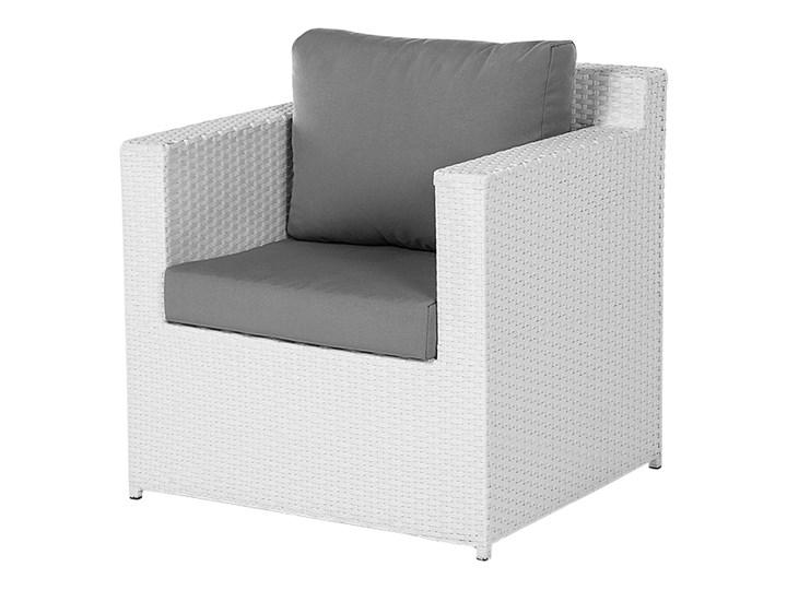 Zestaw mebli ogrodowych 5-osobowy biały rattan szare poduszki sofa 2 fotele pufa stolik Tworzywo sztuczne Zestawy wypoczynkowe Technorattan Aluminium Kategoria Zestawy mebli ogrodowych