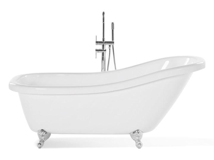 Wanna wolnostojąca biała akrylowa 170 x 80 cm system przelewowy owalna retro Kolor Biały Wolnostojące Długość 170 cm Kategoria Wanny