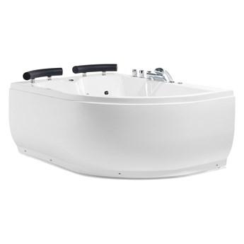 Wanna narożna biała akrylowa 159 x 113 cm prawostronna LED hydromasaż zagłówki współczesna