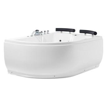 Wanna narożna biała akrylowa 159 x 113 cm lewostronna LED hydromasaż zagłówki współczesna