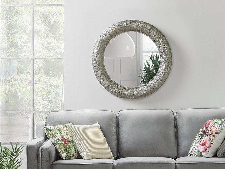 Lustro wiszące ścienne srebrne 80 cm Lustro z ramą Styl Vintage Okrągłe Kolor Szary