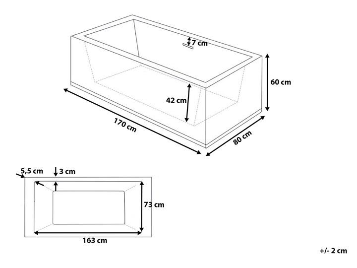 Wanna wolnostojąca biała akrylowa 170 x 81 cm system przelewowy prostokątna współczesna Symetryczne Długość 170 cm Wolnostojące Kolor Biały