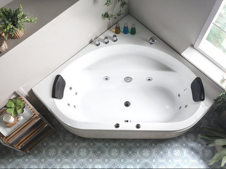 Wanna z hydromasażem biała narożna 55 x 140 cm wolnostojąca oświetlenie LED Symetryczne Akryl Wolnostojące Stal Kolor Biały