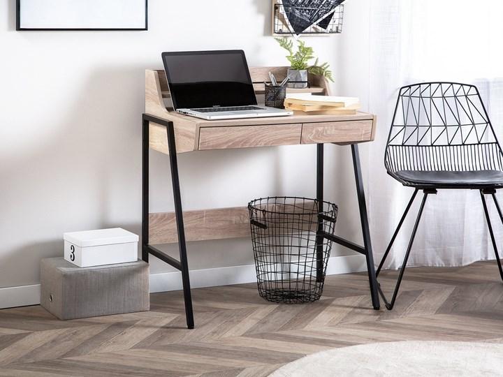 Małe biurko jasnobrązowe 73 x 48 cm z nadstawką i szufladami na stalowej ramie Płyta MDF Biurko komputerowe Biurko z nadstawką Drewno Szerokość 72 cm Pomieszczenie Biuro
