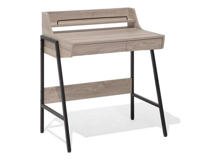 Małe biurko jasnobrązowe 73 x 48 cm z nadstawką i szufladami na stalowej ramie Biurko komputerowe Drewno Szerokość 72 cm Szerokość 77 cm Biurko z nadstawką Płyta MDF Kolor Brązowy