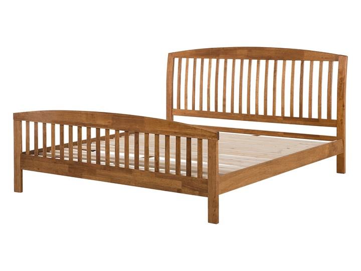 Łóżko ciemne drewniane 160 x 200 cm z ramą stelażem zagłówkiem i zanóżkiem Kategoria Łóżka do sypialni Łóżko drewniane Kolor Brązowy