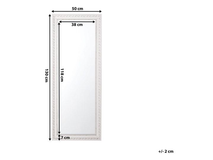 Lustro ścienne wiszące biało-srebrne 50 x 130 cm łazienka przedpokój Kolor Biały Prostokątne Lustro z ramą Kolor Srebrny