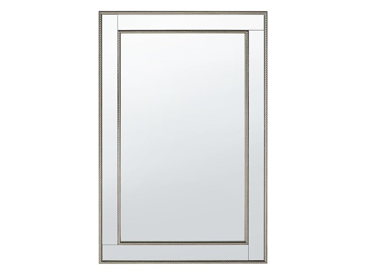 Lustro ścienne wiszące srebrne 60 x 90 cm Prostokątne Lustro z ramą Pomieszczenie Salon