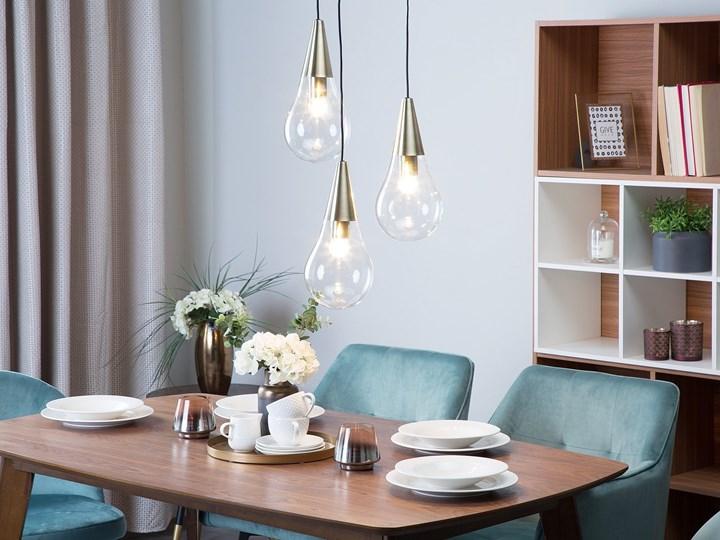Lampa sufitowa przezroczysta szklana 118 cm miedziany akcent 3 klosze kształt kropli nowoczesna Żarówka na kablu Szkło Metal Kategoria Lampy wiszące