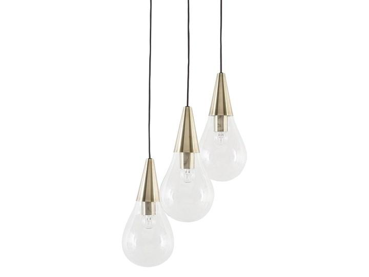 Lampa sufitowa przezroczysta szklana 118 cm miedziany akcent 3 klosze kształt kropli nowoczesna Metal Szkło Kolor Złoty Żarówka na kablu Kategoria Lampy wiszące