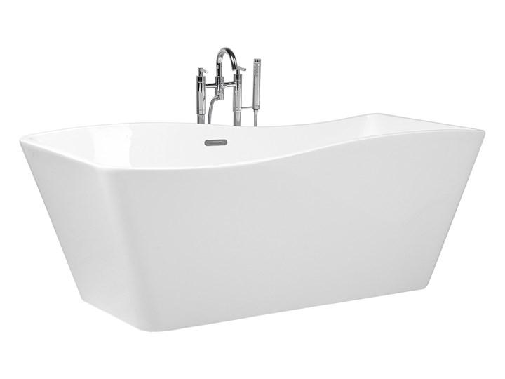 Wanna wolnostojąca biała akrylowa 170 x 78 cm system przelewowy prostokątna glamour Długość 170 cm Symetryczne Stal Wolnostojące Kolor Biały Kategoria Wanny