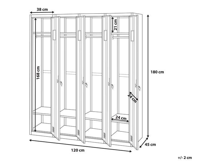 Szafa ubraniowa biała metalowa 120 x 45 x 180 cm 4 drzwi na kluczyk z półkami i drążkiem Uniwersalne Pomieszczenie Biuro i pracownia