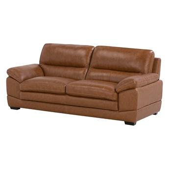 Sofa 3-osobowa brązowa skórzana czarne nóżki grube siedzisko i oparcie retro design