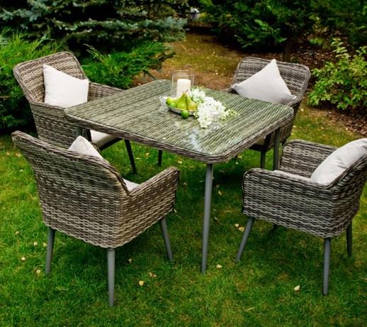 Niesamowite Elegancki zestaw BASSO technorattan stół 4 krzesła - Zestawy mebli RP48