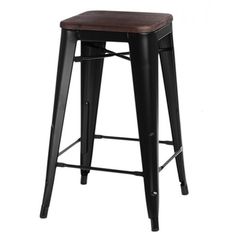 Krzesło barowe Paris Wood D2 75cm czarne/sosna orzech kod: 5902385708692