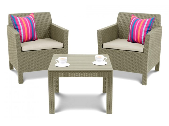 Zestaw mebli ogrodowych 75x65x65cm Bazkar ORLANDO WEEKEND Cappuccino/beż kod: 001261 Tworzywo sztuczne Stoły z krzesłami Rattan Zawartość zestawu Stolik