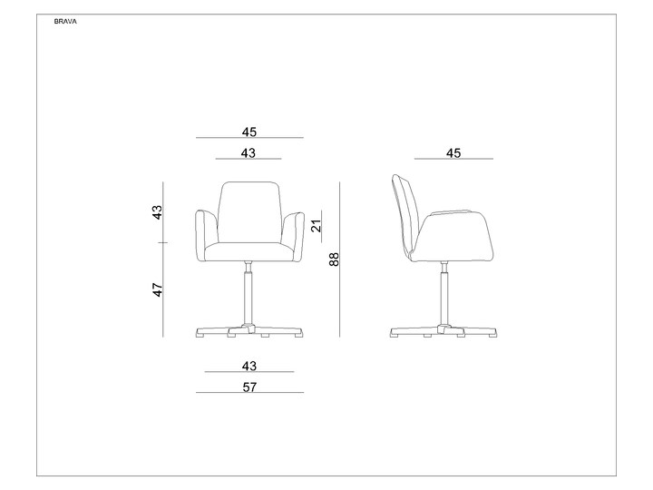 Fotel biurowy tapicerowany Brava kolor Tkanina Pomieszczenie Biuro i pracownia Wysokość 88 cm Fotel konferencyjny Kategoria Fotele do salonu