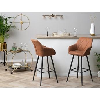 Zestaw 2 krzeseł barowych brązowych tapicerowanych materiałem czarne metalowe nóżki geometryczne pikowanie rustykalny design