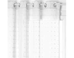Firana gotowa na przelotkach, 140 x 240 cm, biała z kropeczkami